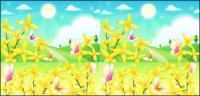 Arredores de flores e borboletas material vector