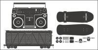 Matériau de vecteur de skateboard radio - conteneur-