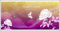 Mariposa fondo de sueño rosas silueta vector