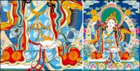 Madre de Lin Thangka tibetana a tres líneas del vector vacío AI