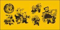 Figuras de material de corte de papel de arte vetorial