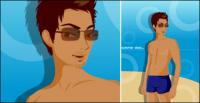 Hommes de matériels de maillots de bain de vecteur