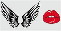 Крылья, губы вектор