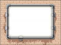 Tuberías de agua, marco, Vector de muro de ladrillo