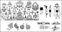 พระพุทธศาสนา ห้าชนิดของโบราณวัตถุเวกเตอร์