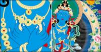 Vecteur de peintures murales de Dunhuang religion