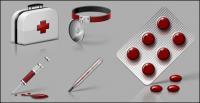 Trousse médicale, seringues, thermomètre, thermomètres, pilule