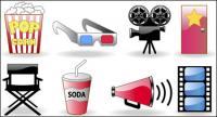 Bilhetes do filme, pipoca, óculos, câmera, vector ícones
