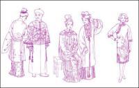 Dibujo de líneas de ropa de canción dinastía Yuan dinastía vestir prendas de vestir ropa dinastía Qing dinastía Ming