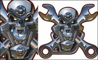 Металлические черепа вектора