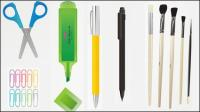 Bleistift, Feder, Wachsmalstift, Anspitzer, Schere, Stift, Gummi