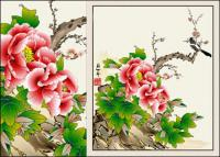 牡丹の花絵画ベクトル カササギ