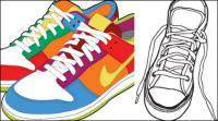 Спортивная обувь и холст обувь векторный материал