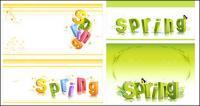 musim semi tiga dimensi karakter alfabet pola vektor