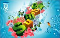 Лето, цветы, бабочек, птиц трехмерные персонажи