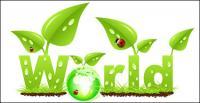 ベクトルてんとう虫葉草の成長の緑の地球