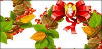 Vector Navidad, adornos navideños, hojas, nueces, Espino chino