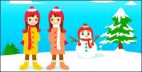 Bonhomme de neige et le vecteur de la petite fille