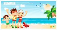 Dibujos animados de niños y niñas balneario Vector