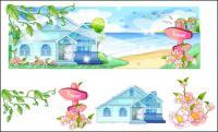 手描きスタイル、夏スタイル シリーズのベクトル-2