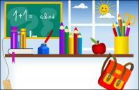 Artículos de papelería, pizarra, bote de tinta, bolígrafos de tinta, libros, bolsas escolares Vector