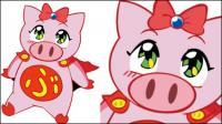 飛行の女の子豚ベクトル