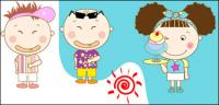 เด็กผู้ชายและเด็กผู้หญิงในดวงอาทิตย์ฤดูร้อน vector