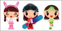 Mädchen, Skateboardfahren, laufen Vektor
