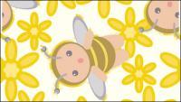 พื้นหลังอย่างต่อเนื่องของเวกเตอร์ bees ดอกไม้