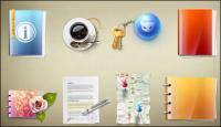 Material de oficina serie icono tridimensional