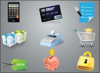 Calculadora, cartões de crédito, caixa registradora, para salvar o pote de dinheiro