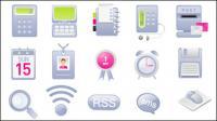 Equipe de cartões, emblemas, despertador, botão rss