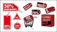 Material de vendas Rótulo ícone em vetor do disconto