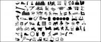 Serie de elementos de diseño blanco y negro de vectores de material -12 (tema silueta)
