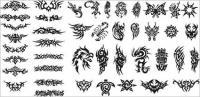 Serie de elementos de diseño blanco y negro de vectores de material -15 (Totem)