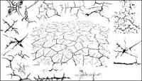 Serie de elementos de diseño blanco y negro de vectores de material -2 (crack)