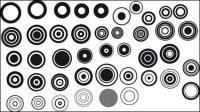 Serie de elementos de diseño blanco y negro de vectores de material -1 (Simple ronda)