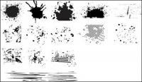 材料-6 (インクのしみ) 一連の黒と白のデザイン要素をベクトルします。