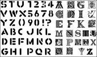 Letras inglesas, números de material de vectores