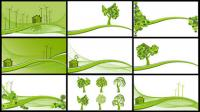 Energia eólica, reduzir as emissões, árvores, encostas vector material