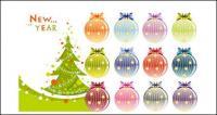 Рождественские елки и украшение шариками вектор