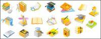 マウス、博士キャップ、鉛筆、ペン、CD-ROM、正方形のトンボを設定