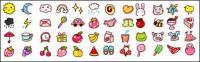 Tempo, frutos, animais pequenos ícones gif