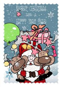 Hand-painted Santa Claus, gifts, vector