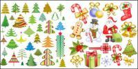 Santa Claus, marca, muletas, arco, meias, vetor de floco de neve