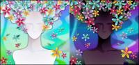 Женщина с цветами векторного материала -3
