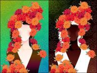 Femme avec des fleurs vecteur -2 matériaux