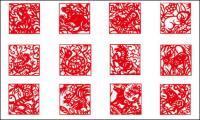 Material de vector de papel cortado de Zodiac