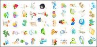 풍선, 블록, 선물, 연필의 자, 시계, 키, 마술 지팡이, 로터스, 씨앗 아이콘