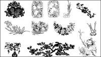 Ciruela, granadas, vector de Magnolia